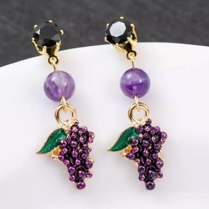 Betsey Johnson Purple Grape Earrings